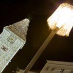 Ledererturm der Stadt Wels zur Weihnachtszeit